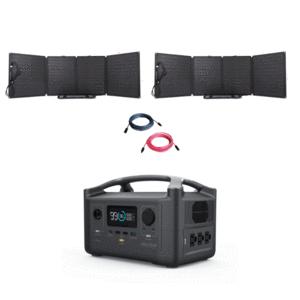 EcoFlow RIVER600 Portable Power Station + [2 x 110W